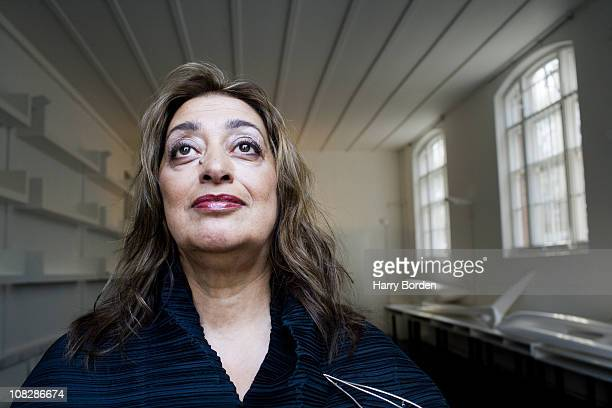 Architect Zaha Hadid poses for a portrait shoot in London on July 28 2006