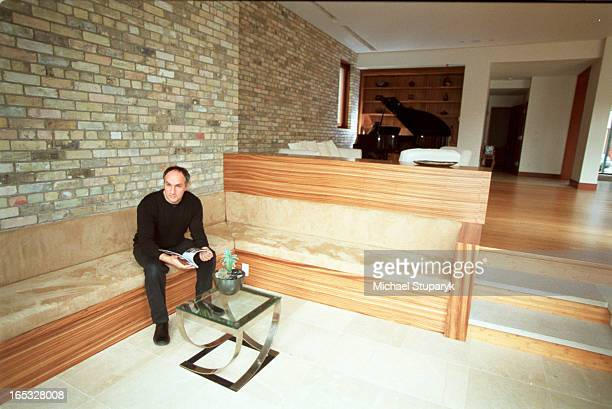 Architect Zev Daniels and wife Arlene BarlinDaniels on piano in backgroundfront aned back views of houseLandscape with pool details of front entrance...