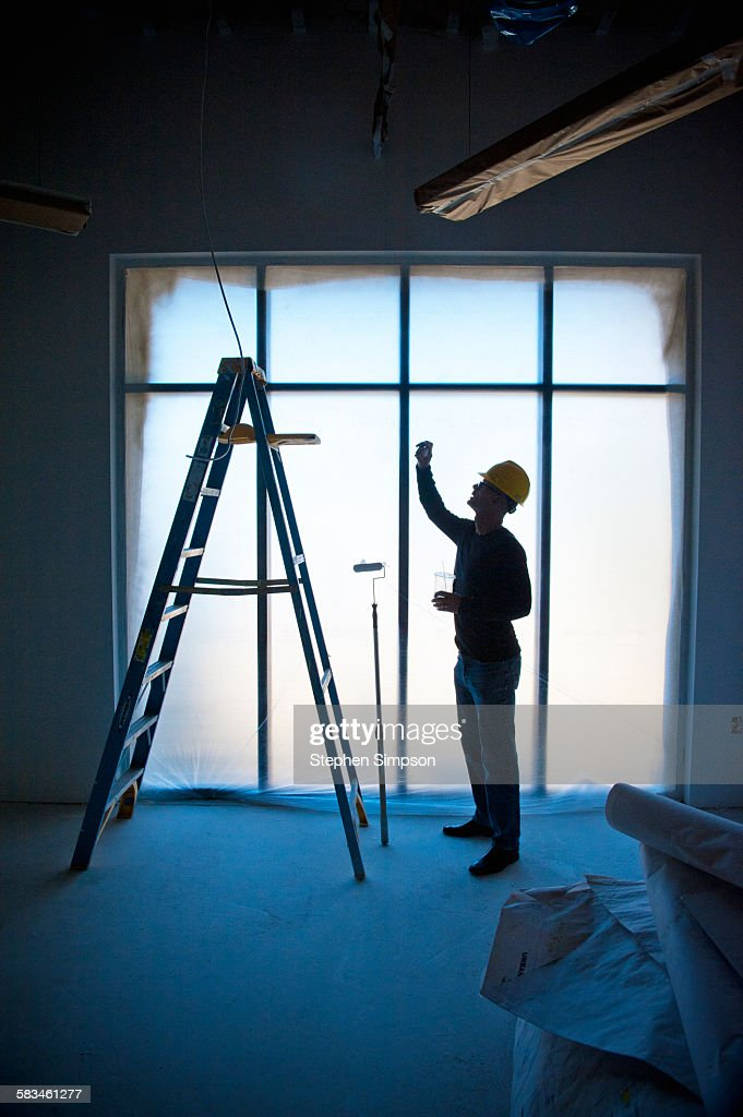 architect/contractor on school construction site : Stock Photo