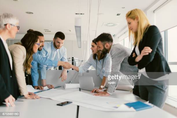 architects and investors on meeting - design occupation stock pictures, royalty-free photos & images