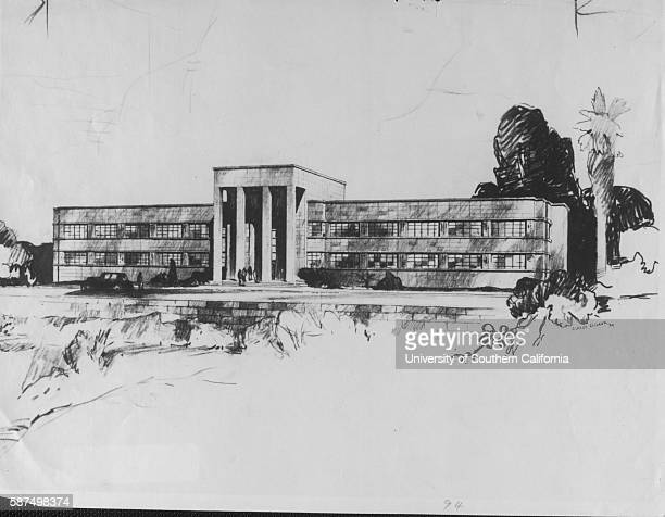 Architect's drawing of proposed $300, 000 building to house State Highways Division offices here, Los Angeles, California, July 31, 1939.