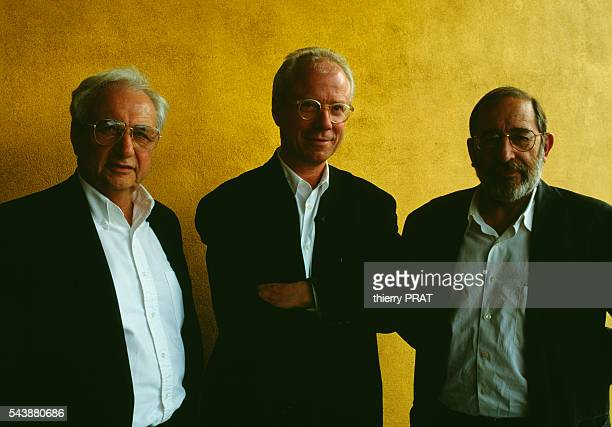 Architects Frank Gehry and Alvaro Siza Vieira with the Swiss CEO of 'Vitra' Rolf Fehlbaum during the inauguration of the company's two new buildings...