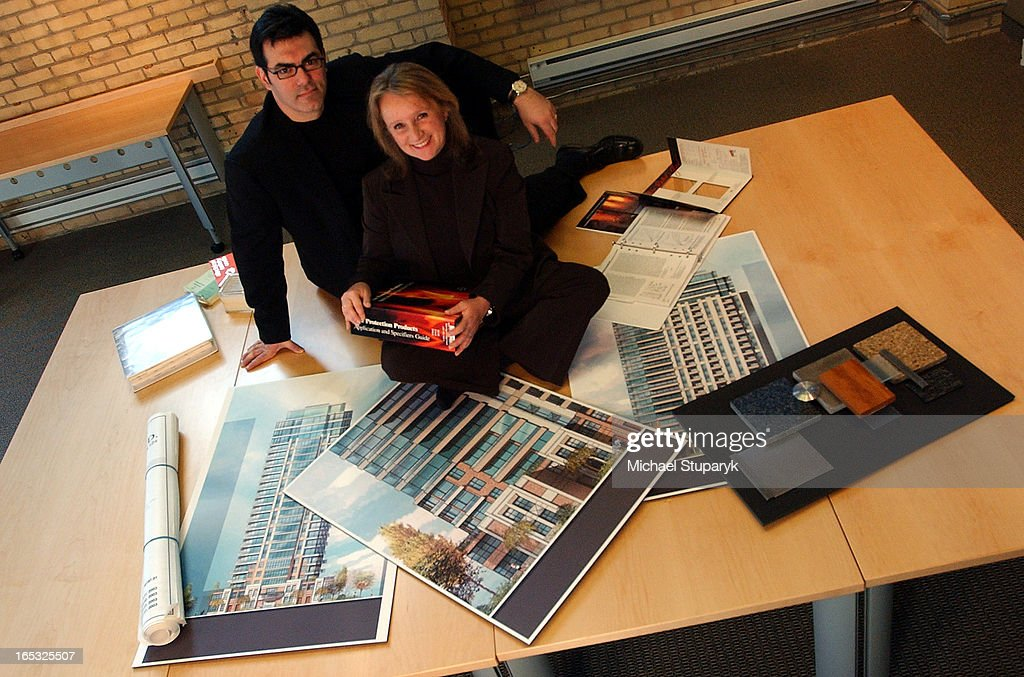 RUDA (01/07/05) TORONTO, ONT Architects Guela Solow-Ruda in foreground and Mark Feldman with glasses : News Photo