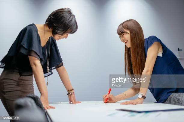 Architects in Japan preparing presentation for seminar
