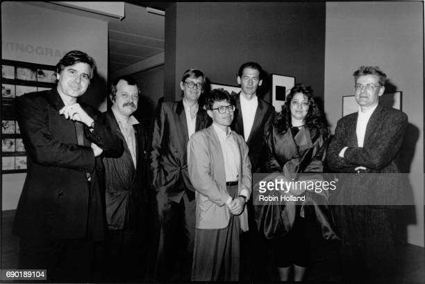 Architects including Bernard Tschumi Rem Koolhaus and Zaha Hadid at the Museum of Modern Art show 'Deconstructivist Architecture' in June 1988 New...