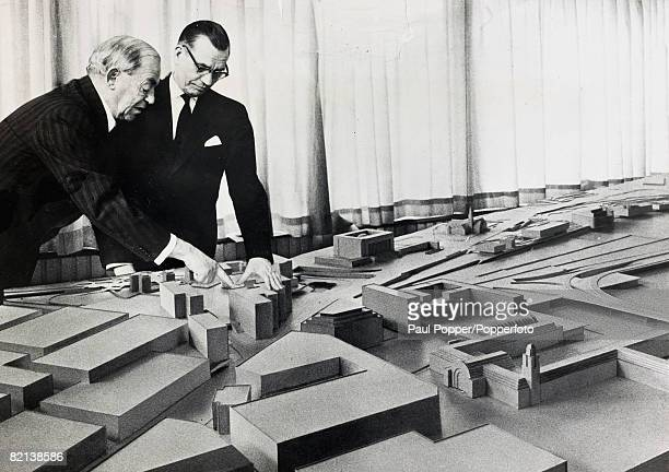 20th April 1961 Finnish architect Alvar Aalto given the task of replanning the centre of Helsinki explaining to the Burgomaster Lauri Aho the plans...