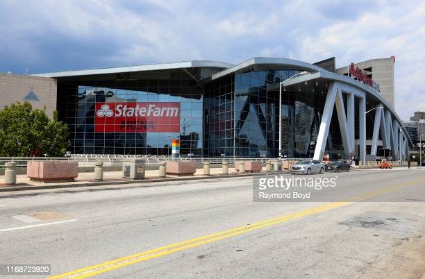 Architects Populous' State Farm Arena home of the Atlanta Falcons basketball team and WNBA Atlanta Dream basketball team in Atlanta Georgia on July...