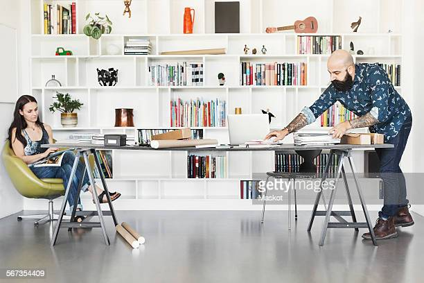 Architects working at home office