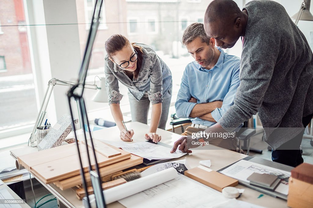 Architects working on project : Stock Photo