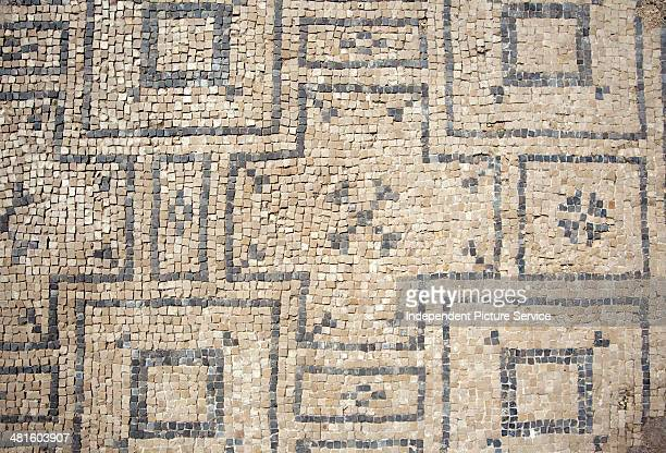Architectural artifacts showing the pattern and design of floor tiles at an ancient Roman bath at the archaeological site Beit Shean National Park...
