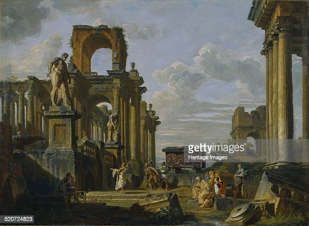 Architectural Capriccio of the Roman Forum with Philosophers and Soldiers among Ancient Ruins Found in the collection of National Museum of Western...