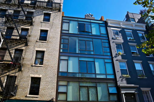 architectural contrasts styles eras cityscape manhattan new