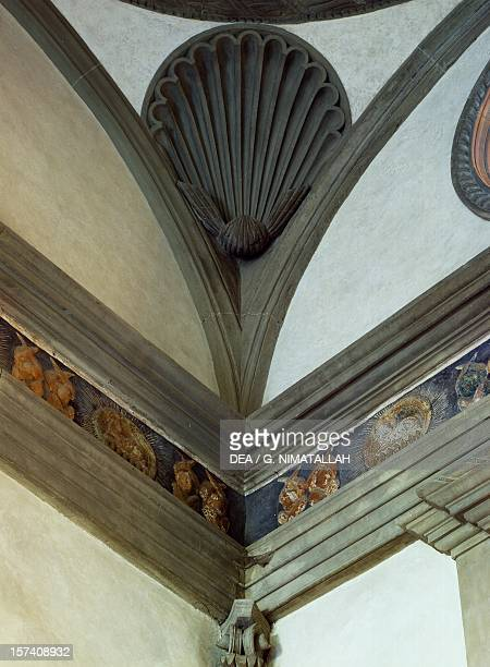 Architectural detail from Pazzi Chapel architect Filippo Brunelleschi Basilica of Santa Croce Florence Italy 15th century