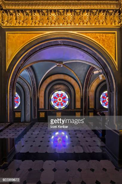 Architectural detail inside the upper floor of the all metasl Bulgarian church at Balat Istanbul Turkey