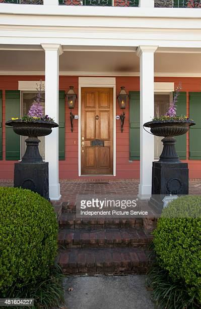 Architectural detail of a house with gas lamps in Memphis Tennessee