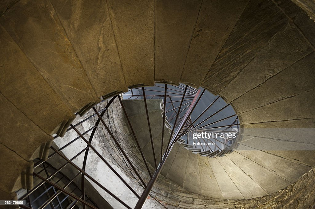 Architectural detail of a spiral staircase : Stock Photo