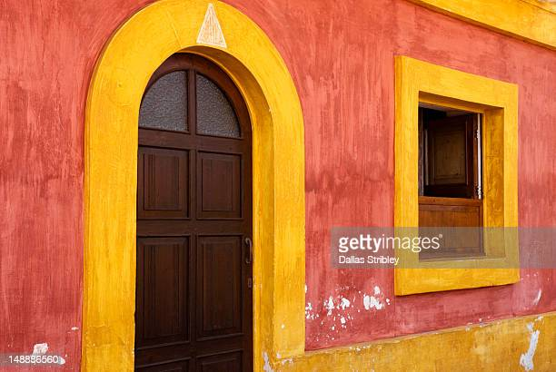 Architectural detail of colourful island home.