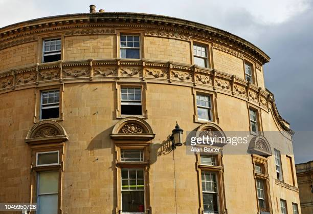Architectural detail of curved arch in Bath Spa