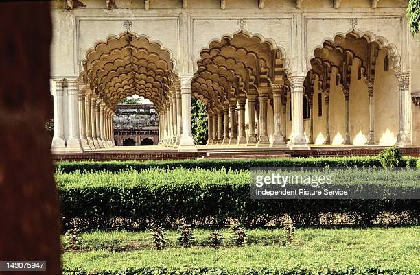 Architectural detail of Diwan i-Am Hall at the Red Fort of Agra, India.