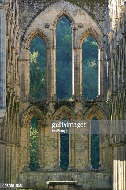 Architectural detail of Rievaulx Abbey ahead of reopening to the public on July 31 2020 in Helmsley North Yorkshire As coronavirus restrictions are...