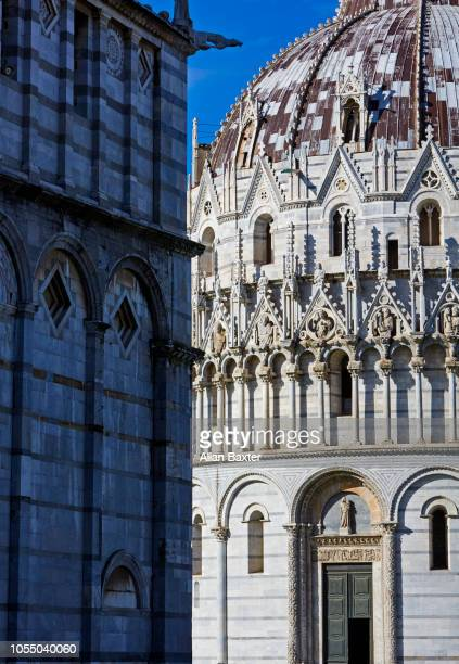 Architectural detail of the Baptistry in Pisa, Tuscany
