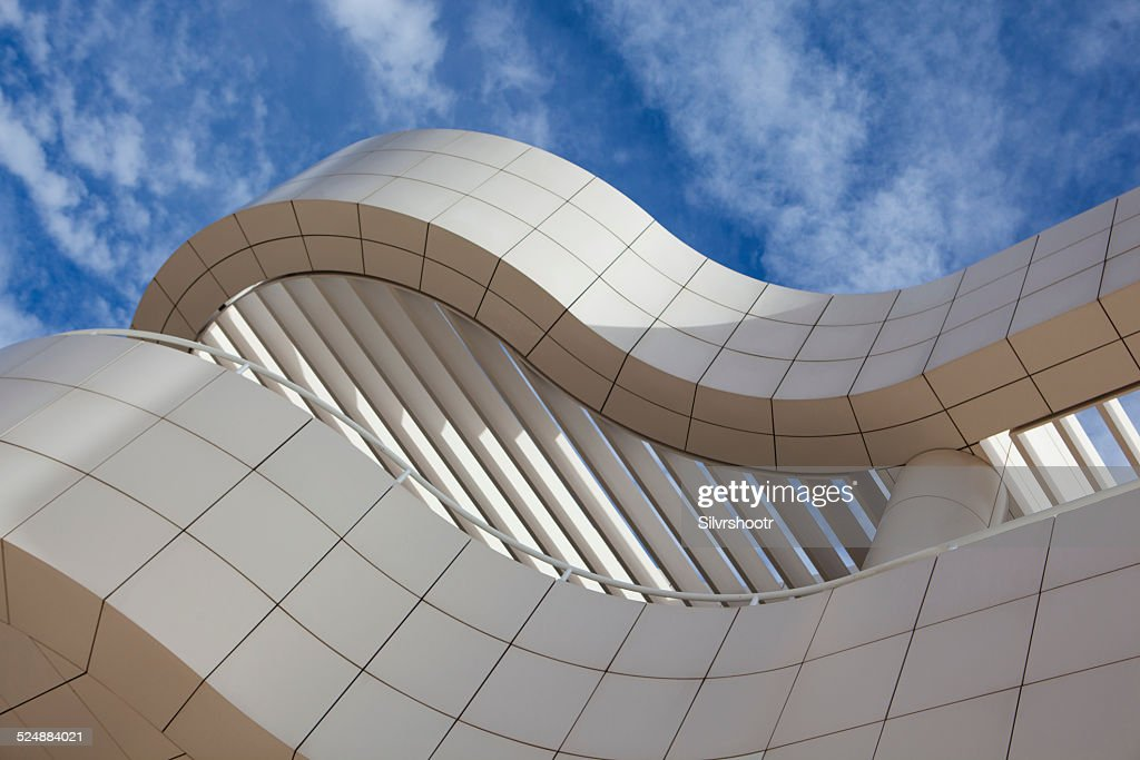 Architectural detail of the Getty Museum in Los Angeles : Stock Photo
