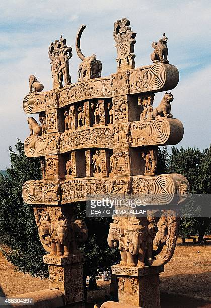 Architectural detail of the North Gate of the Great Stupa Sanchi Madhya Pradesh India 1st century BC