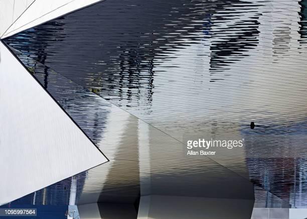 Architectural detail of the Porsche Museum in Stuttgart