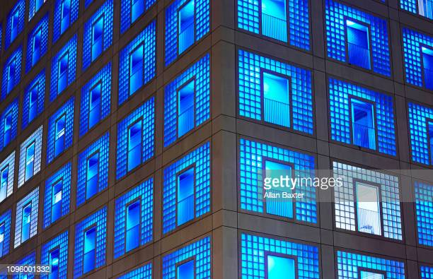 Architectural detail of the public library in Stuttgart at night