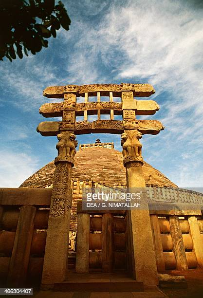 Architectural detail of the South Gate of the Great Stupa Sanchi Madhya Pradesh India 1st century BC