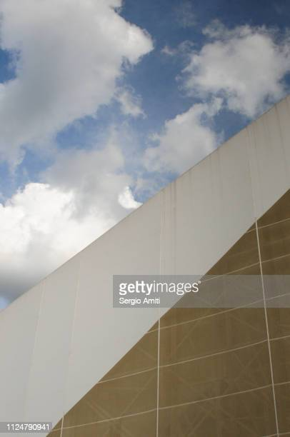 Architectural detail with blue sky with clouds