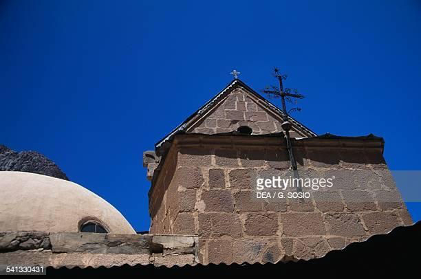 Architectural detail with cross Saint Catherine's Monastery 6th century Sinai Peninsula Egypt