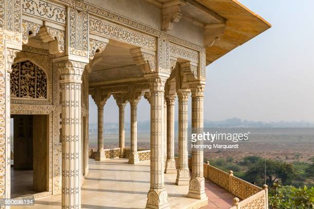 architectural detail with marquetry inside agra fort, agra, uttar pradesh, india - marquetry stock photos and pictures