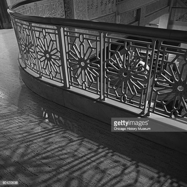 Architectural details from the lobby area and staircase of the Rookery building at 209 South LaSalle Street, on the corner of La Salle and Adams...
