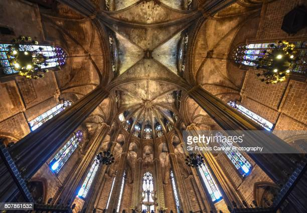 Architectural details inside Barcelona cathedral in Catalonia, Spain