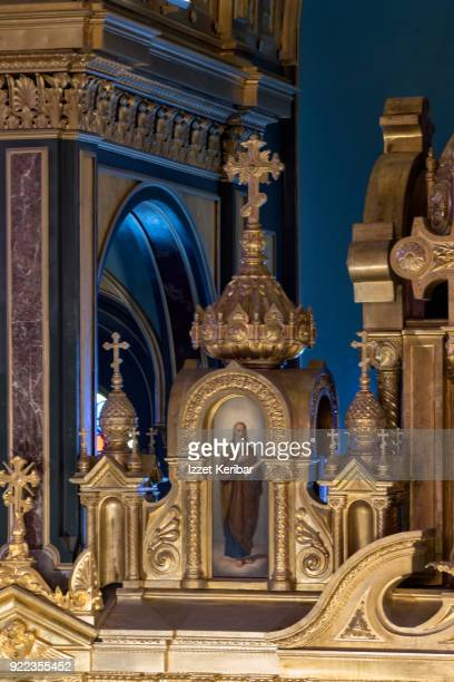 Architectural details inside the St Stephen Bulgarian church at Balat Istanbul Turkey