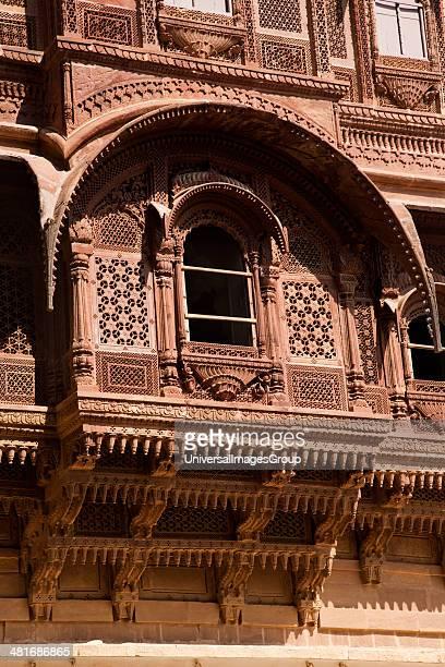 Architectural details of a fort Meherangarh Fort Jodhpur Rajasthan India