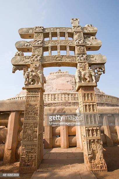 Architectural details of a stupa Great Stupa Sanchi Bhopal Madhya Pradesh India