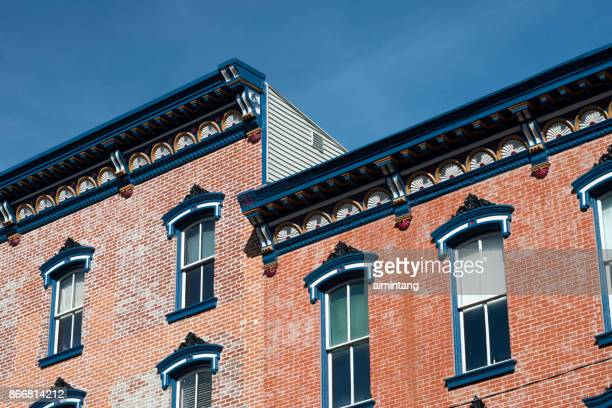 architectural details of historic buildings on broadway street in downtown jim thorpe - jim thorpe pennsylvania stock photos and pictures