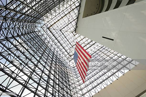 architectural details of jfk library - john f. kennedy library stock photos and pictures