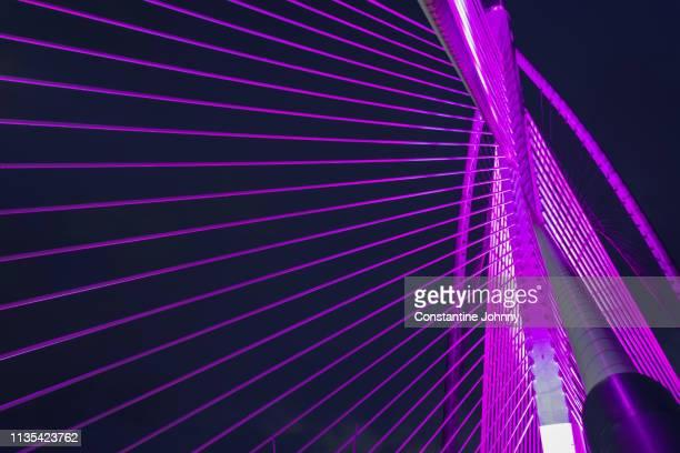 architectural details of modern bridge at night. seri wawasan bridge, putrajaya. - malaysia stock pictures, royalty-free photos & images