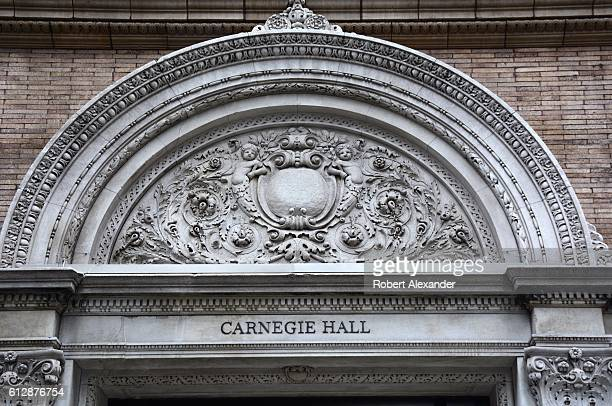 September 6, 2016: Architectural details on the exterior facade of Carnegie Hall, an historic concert venue on 7th Avenue in Midtown Manhattan in New...