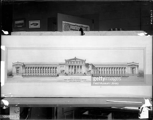 Architectural Drawing or blueprint Field Museum exterior of building Proposal made for Field Columbian Museum Studio setting poster for RR Donnelley...