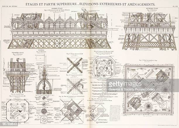 Architectural drawing showing the names of the scientists and other learned people on the exterior of the tower Gustave Eiffel�s office and the...