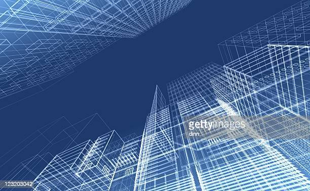 architectural drawing - wireframe render - blueprint stock pictures, royalty-free photos & images
