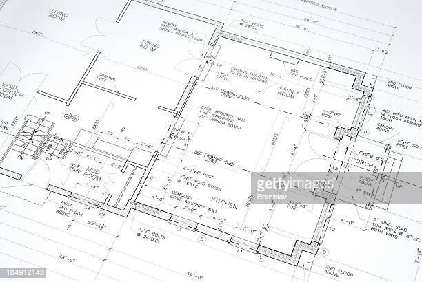 architectural drawings  53 - blauwdruk stockfoto's en -beelden