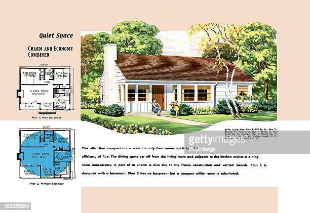 Architectural Drawings of Domestic Residences and Home in 1950 America with floor pland and descriptions of home models
