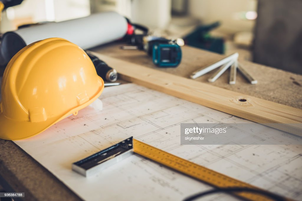Architecturale apparatuur op de bouwplaats! : Stockfoto