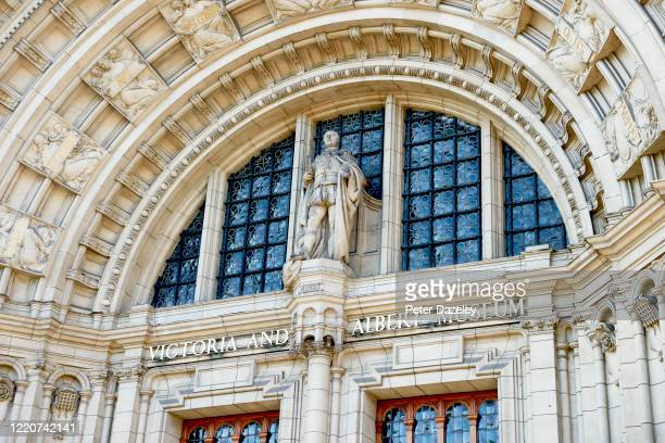 Architectural exterior of the V&A museum of art and design on April 24, 2020 in London,England.