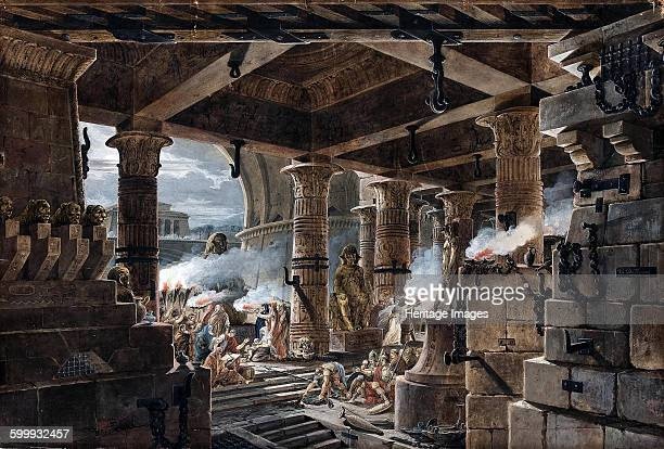 Architectural Fantasy interior view of an Egyptian temple 1803 Found in the collection of State Hermitage St Petersburg Artist Thomas de Thomon Jean...